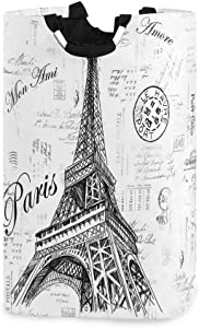 Nander Laundry Basket, Collapsible Fabric Laundry Hamper, Foldable Or Upright Clothes Bag (Paris Eiffel Tower)