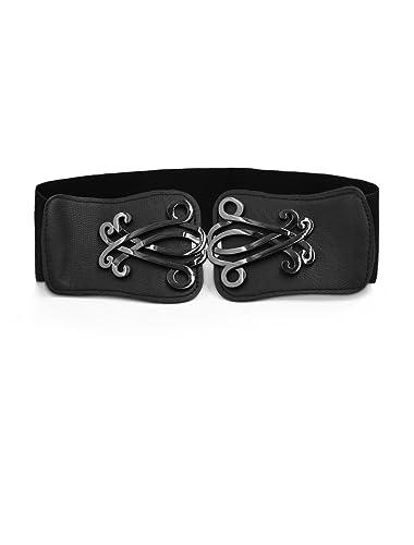 Sourcingmap–® 2.4″de ancho metálico de flores Decor de piel sintética elástica Cinch cinturón blanco para mujer Black,Gray Talla única