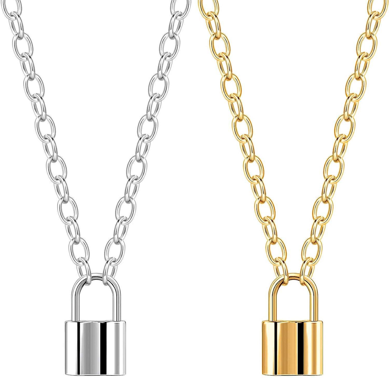 ALEXCRAFT 2PCS Lock Pendant Necklace Simple Punk Padlock Chain Link Necklaces for Men Women-Gold and White Gold