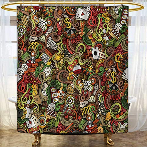 lacencn Casino,Shower Curtains with Shower Hooks,Doodles Style Artwork of Bingo and Cards Excitement Checkers King Tambourine Vegas,Bathroom Set with Hooks,Multicolor,Size:W48 x L72 inch by lacencn