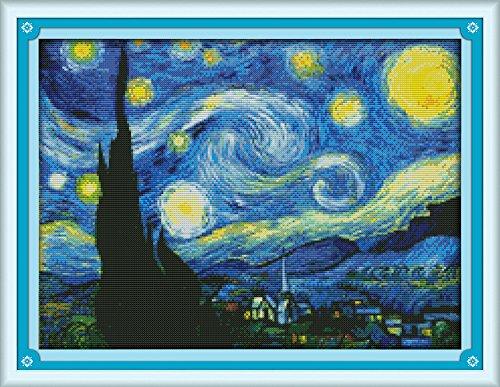 Eafior DIY Cross Stitch Kits Handmade Needlework Embroidery Kits Van Gogh's sky printed design Home Decoration Wall Decor 59x45cm(No - Glasses Van Noten Dries