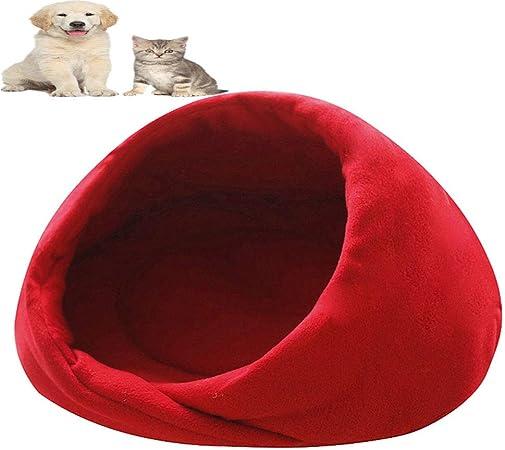 01 Saco de dormir para mascotas, cama para mascotas, camarote para perros y gatos, bolsa de dormir plegable para cueva de mascotas media cubierta, para perros pequeños, medianos y perros (rojo, m):