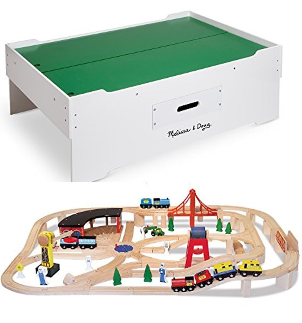 Bundle Includes 2 Items - Melissa & Doug Deluxe Wooden Multi-Activity Play Table - For Trains, Puzzles, Games, More and Melissa & Doug Deluxe Wooden Railway Train Set (130+ pcs)