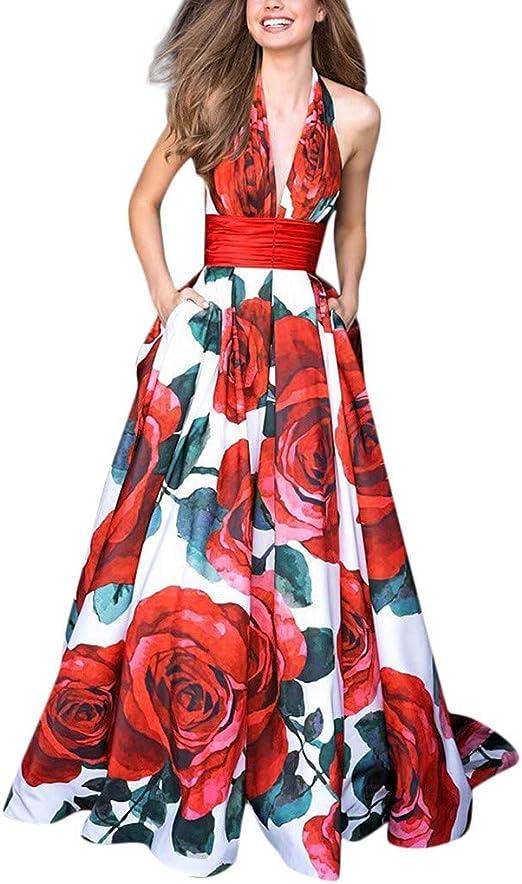 Women Print Deep V High Waist Sleeveless Party Long Maxi Cocktail Sashes Dress