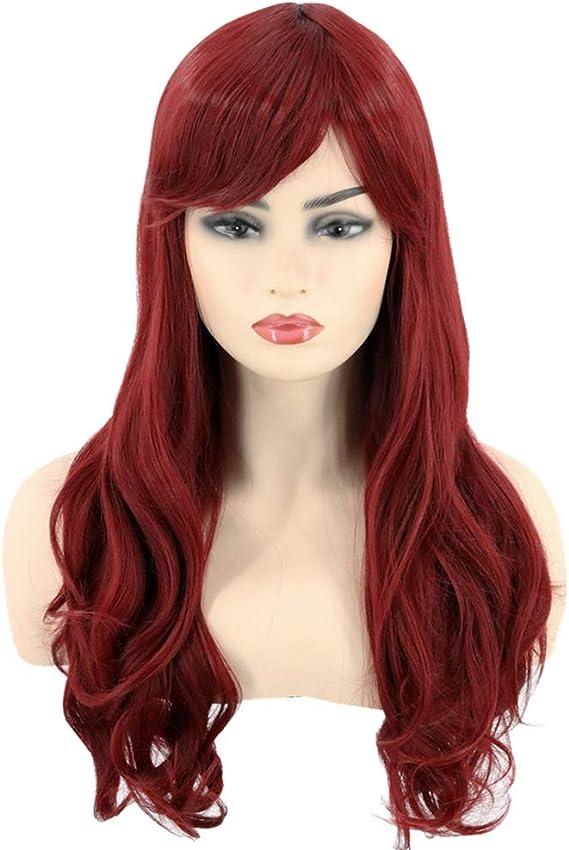 Topcosplay Peluca Roja Ondulada con Flequillo para Mujer, Sirena ...