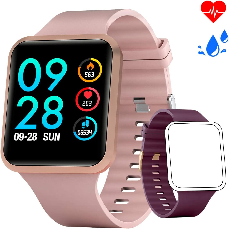 Smartwatch Mujer Reloj Inteligente con oxígeno y Monitor de frecuencia cardíaca IP68 Podómetro Medidor de Calor Reloj Deportivo Llamadas/SMS Notificación para iOS Android