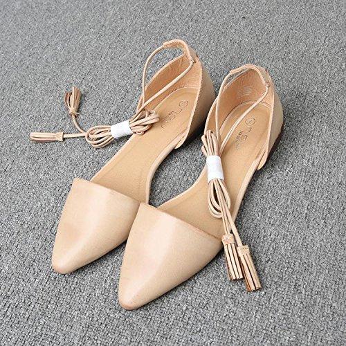 &huo Las sandalias planas puntiagudas, los lazos femeninos con los zapatos romanos, los zapatos ocasionales atractivos y cómodos, observan por favor que un poco grande 38