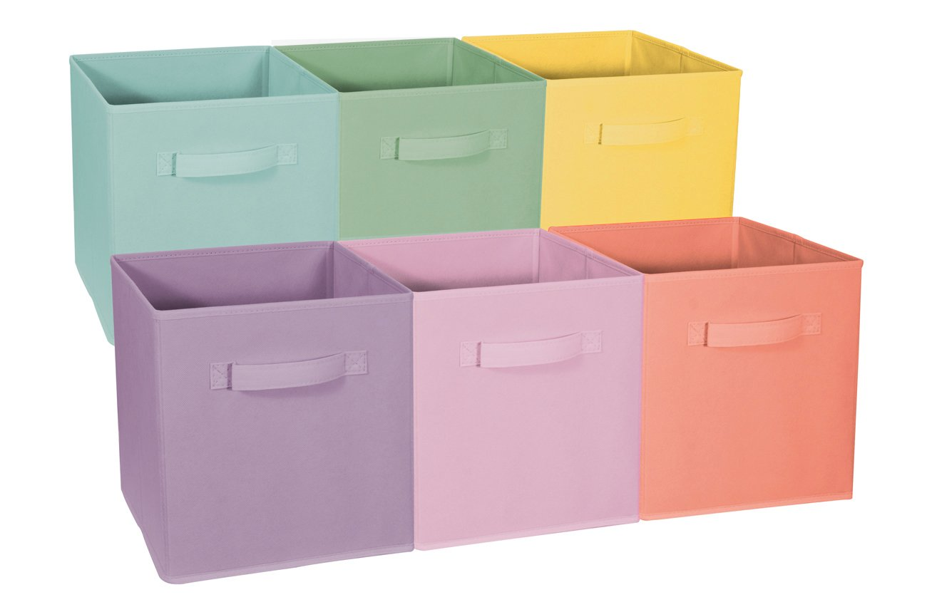 Sorbus Foldable Storage Cube Basket Bin - Great for Nursery, Playroom, Closet, Home Organization ( Pastel Multi-Color, 6 Pack) by Sorbus