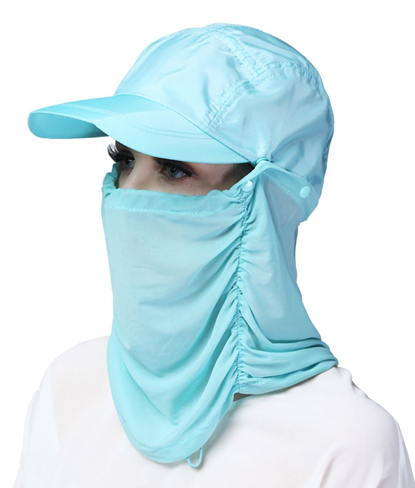 X&F Women's Outdoor Quick Dry UV Protective Balaclavas Outdoor Riding Baseball Cap Blue