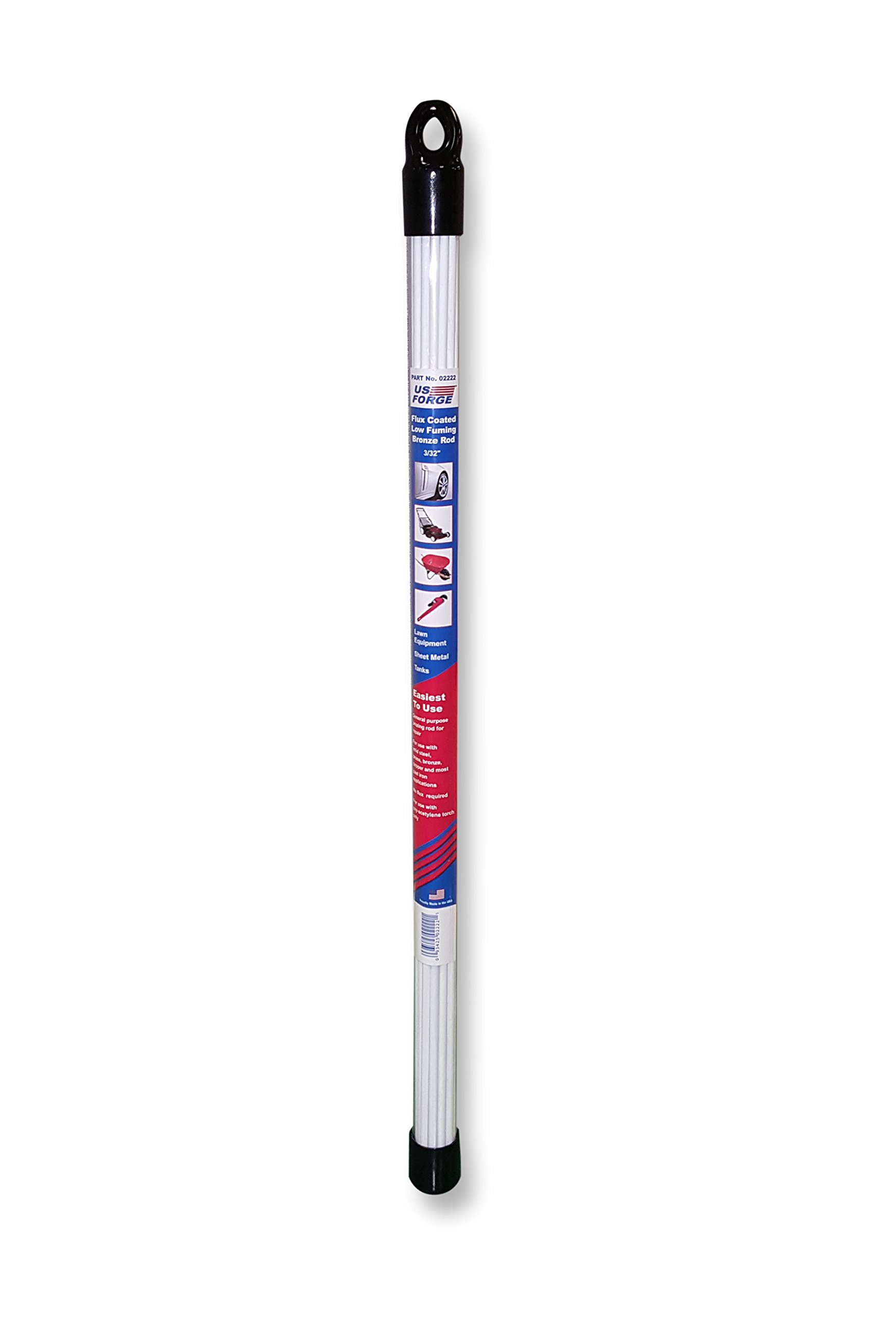 US Forge 2222 Flux Coated Low Fuming Bronze Rod 3/32'''' by 18'''' 0.8 Lb Tube