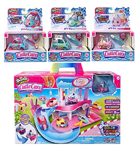 Shopkins Cutie Cars Splash 'N' GO Spa Wash with an Additional 3 Cutie Cars, Series 3. Styles May Vary. Including Blizy Keychain.