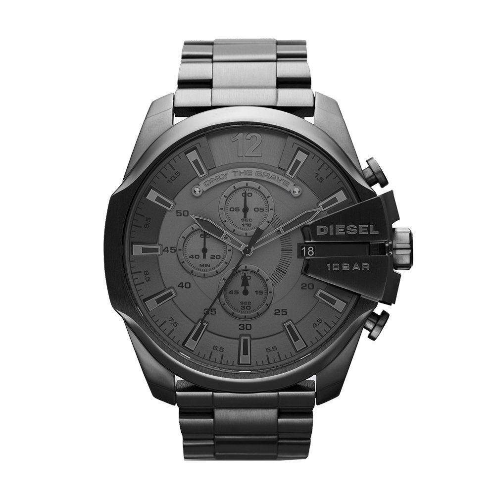 Diesel Men's Mega Chief Quartz Stainless Steel Chronograph Watch, Color: Grey (Model: DZ4282) by Diesel