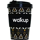 Wakup Reusable Bamboo Coffee Cup - Leak-Proof Bamboo Screw-Cap Lid - 460ml/16oz - Eco-Friendly - Large Silicone Heat-Sleeve - Black Tribal Pattern - Ideal for Takeaway Coffee and Tea - Pays for Itself