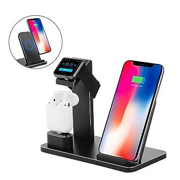YOMENG Soporte de Carga para Apple Watch, Estación de Carga Rápida Qi Inalámbrica 3 en 1 Soportes de Carga de Aluminio para iPhone X XS MAX XR 8 Plus ...