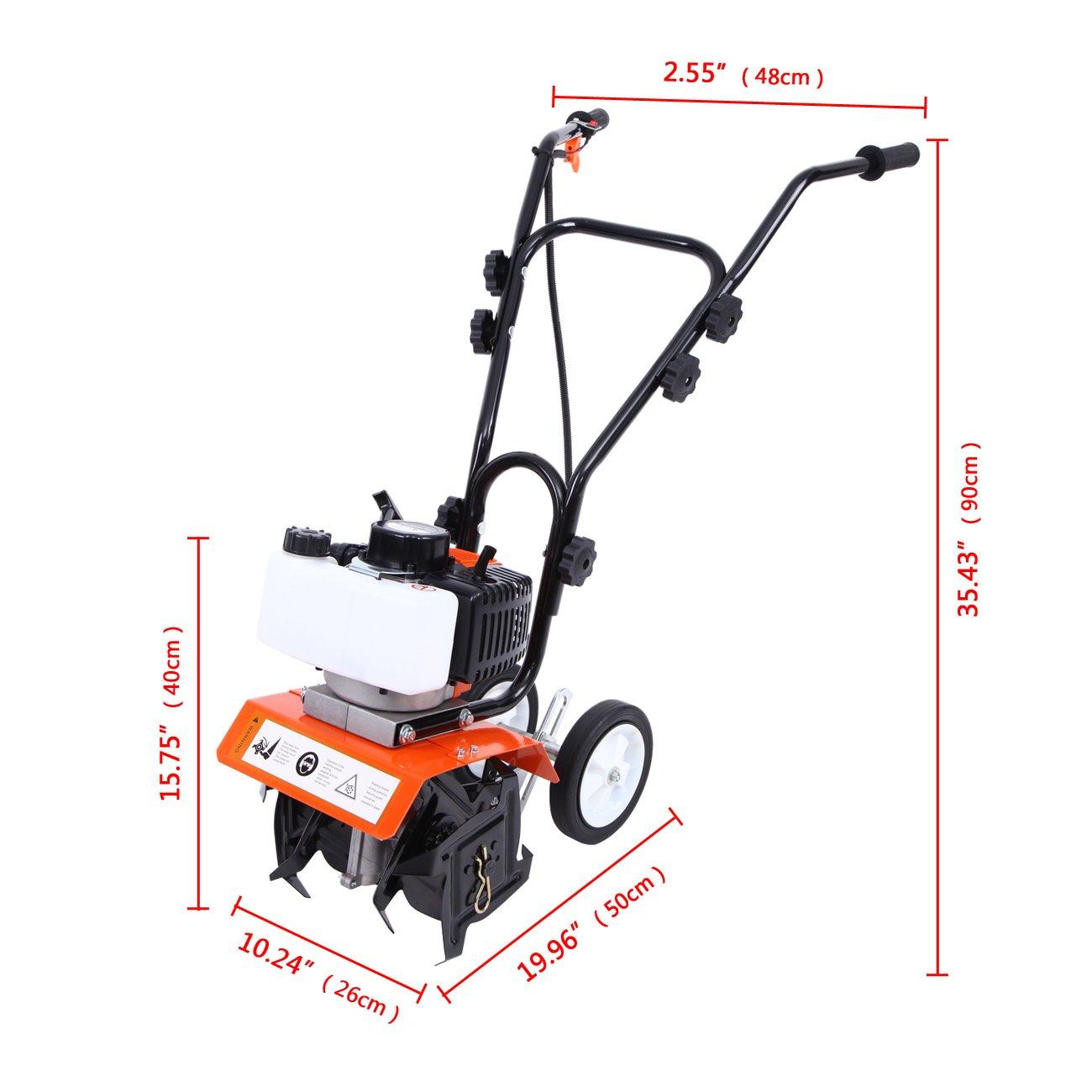 Samger Samger Mini caña Motor Cultivador 52cc 2 Tiempos Gas Gasolina Jardín Rotovator Césped