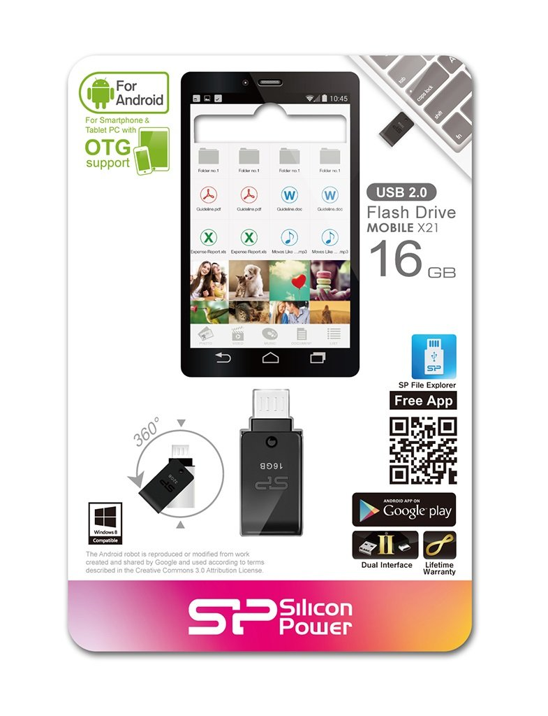 16GB Silicon Power Mobile X21 OTG USB2.0 Flash Drive for Android Phones and Tablets (Black)