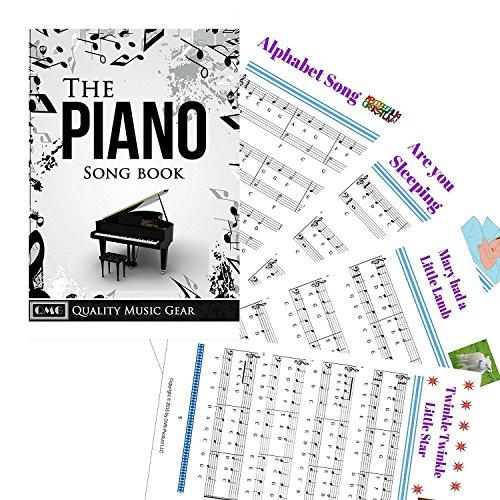 Pegatinas para piano para teclados clave 49/61 /76/88 - Transparentes y extraíbles con libro electrónico gratuito para piano; Hecho en EE.UU