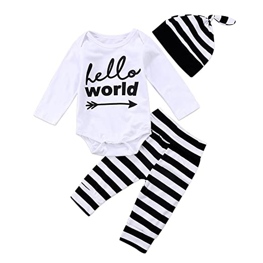 06eb8c780285 3Pcs Infant Newborn Baby Boy Girl Hello World Romper+Striped Pants with Hat Outfit  Sets