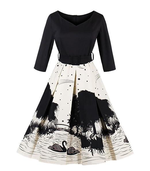 Vestidos Mujer Corto Retro Vintage Rockabilly 50s Vestidos de Fiesta Cortos con Impresión S Negro Beige