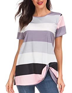 12ac7a5d1a7 HUHHRRY Striped Tunic Tops for Women Color Block Short Sleeve Casual Tee  Shirt Blouse S-