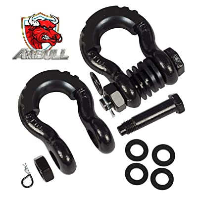 AMBULL Shackles 3/4 Inch D Ring Shackle (2 Pack) 41,850lb Break Strength with 7/8 Inch Pin, Isolator and Washer Kits for Use with Tow Strap, Winch, Off-Road Jeep Truck Vehicle Recovery, Black: Automotive