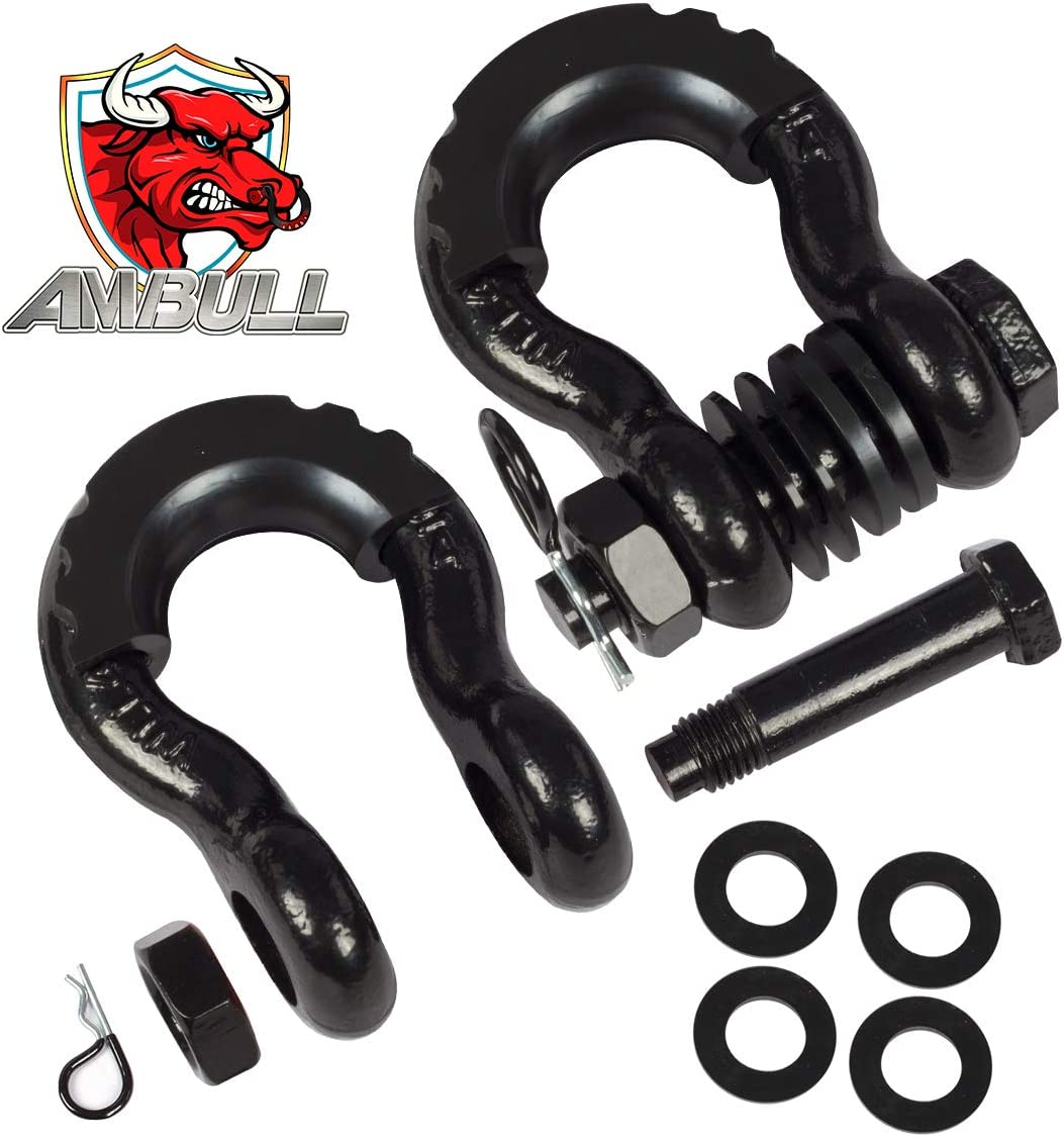 Black Winch Off-Road Jeep Truck Vehicle Recovery 2 Pack 41,850lb Break Strength with 7//8 Inch Pin AMBULL Shackles 3//4 Inch D Ring Shackle Isolator and Washer Kits for Use with Tow Strap