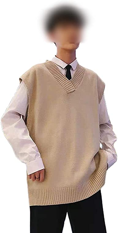 Outwears Suéter Chaleco Hombres V-Cuello Sólido Simple Bf ...