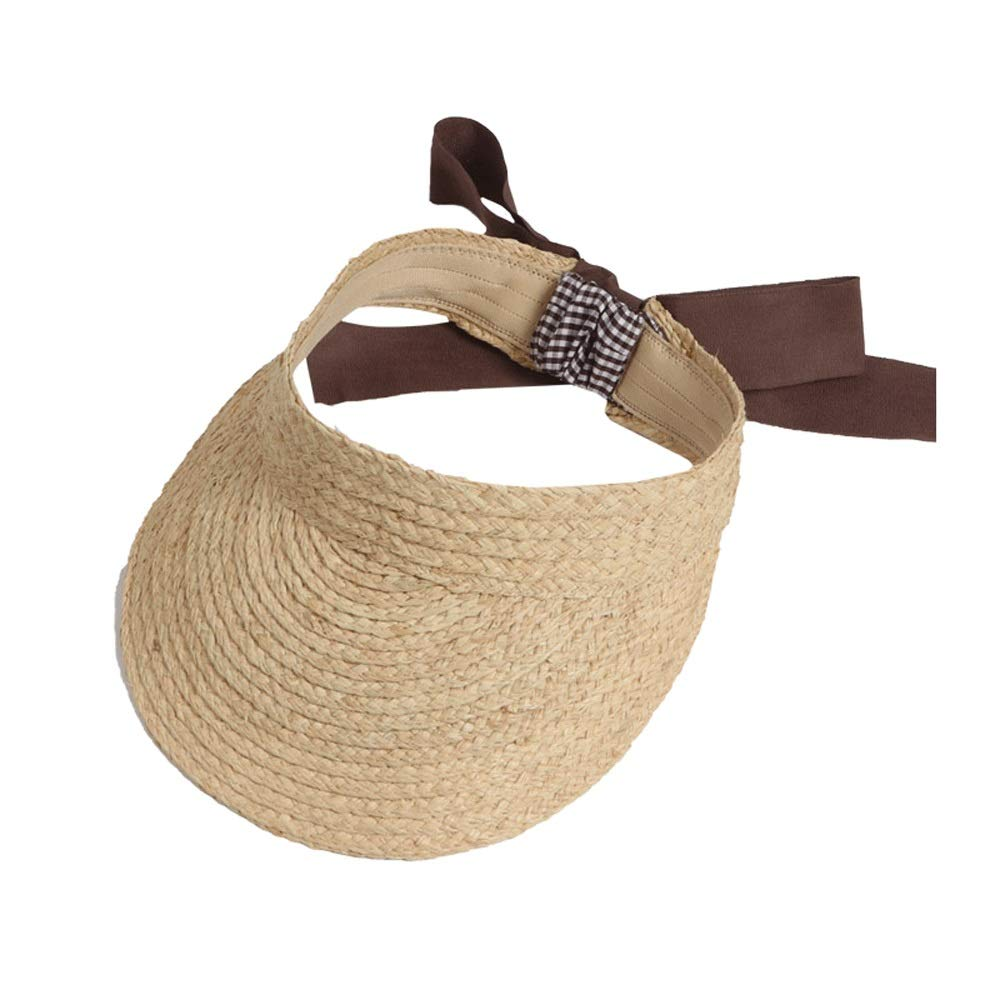 Hats Straw Female Wild Summer Beach Vacation Sunscreen Cap Empty top Visor Korean Sun Caps (Color : Brown) by Hats