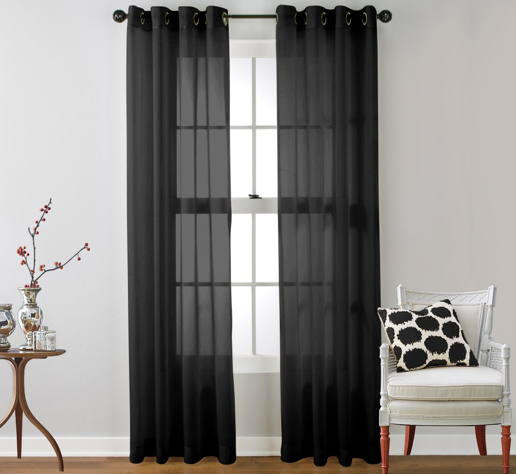 HLC.ME Sheer Voile Curtain Panels - Window Treatment Grommet Curtains - 2 Panels