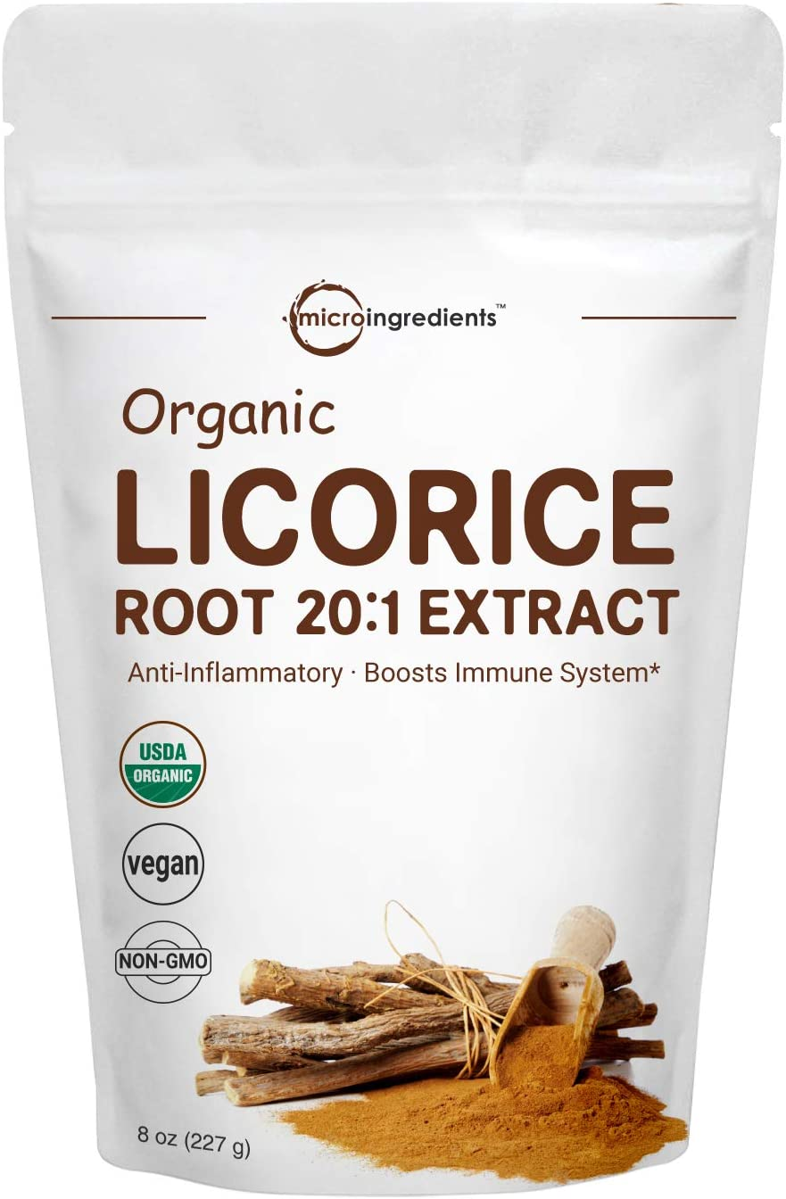 Organic Licorice Root Extract 20 1 Powder, 8 Ounce, Pure Licorice Supplement, Positively Helps Soothe Cough, Sore Throat, Clear and Comfortable Breathing, No GMOs and Vegan Friendly
