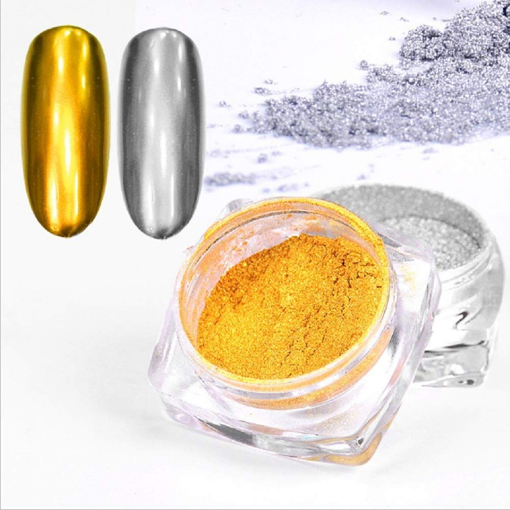 CAOLATOR. 2Pcs Pigmento del Brillo de Arte de Clavo Efecto Espejo Brillante Manicura de Uñas de Cromo en Polvo para Maquillaje Arte de Uñas Pintura del Arte de DIY (1 Plata + 1 de Oro)