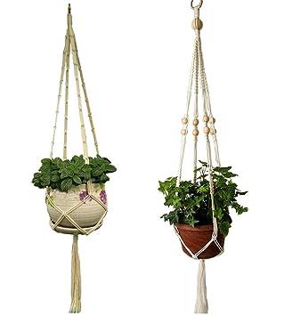 2 x Bambus Blumenampel Hängeampel Blumentopf Pflanzen Halter Aufhänger
