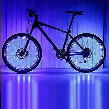 PLANQING Bicicleta Decoración Rueda Luces,Bicicleta, Bicicleta, Luz, Rueda, Bicicleta De Montaña, Accesorios Led para Montar Al Aire Libre (2 Paquetes), Seguridad Y Advertencia, Luz Azul (2Pcs): Amazon.es: Deportes y aire libre