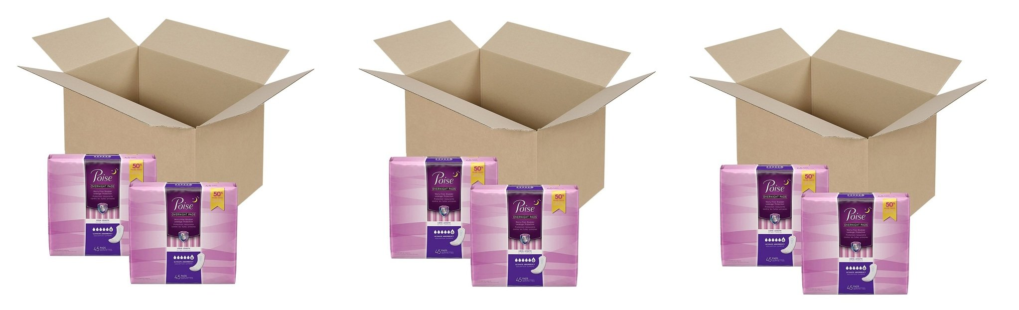 Poise Incontinence Overnight Pads, Ultimate Absorbency, Long, UVknMR 3 Pack (90 Count)