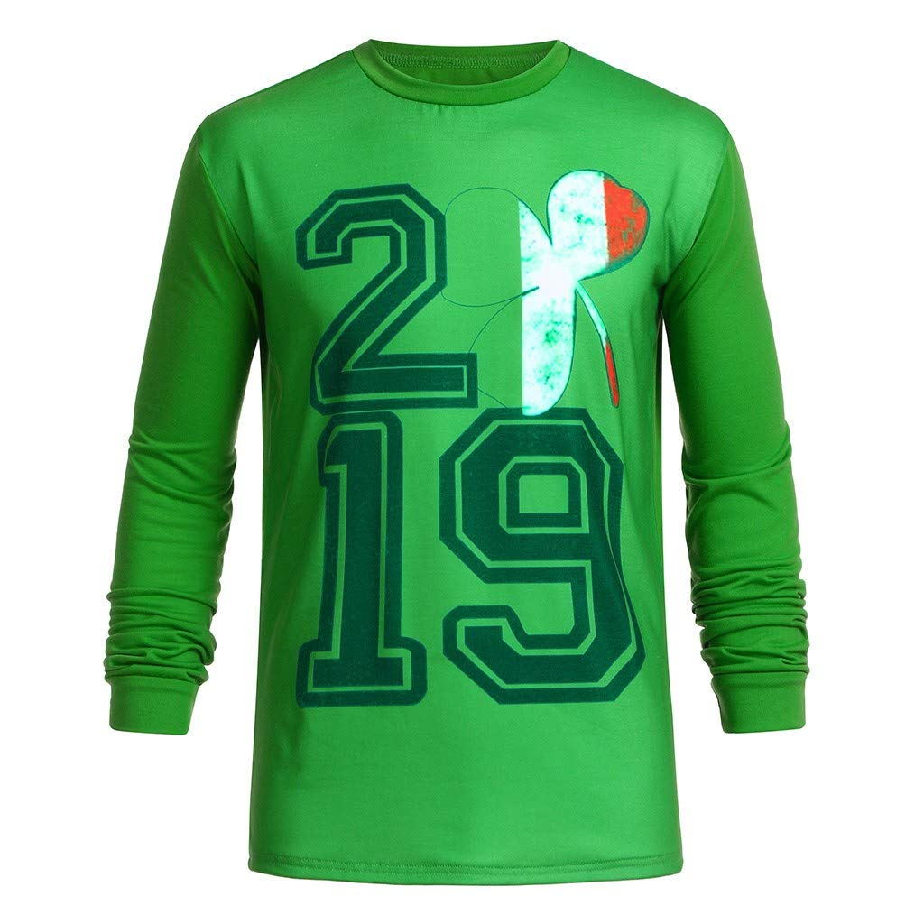 NUWFOR Men Women Couple St Patrick's Day Print Long Sleeve Green T Shirt Top Blouse(Green,XL US Chest:44.9''