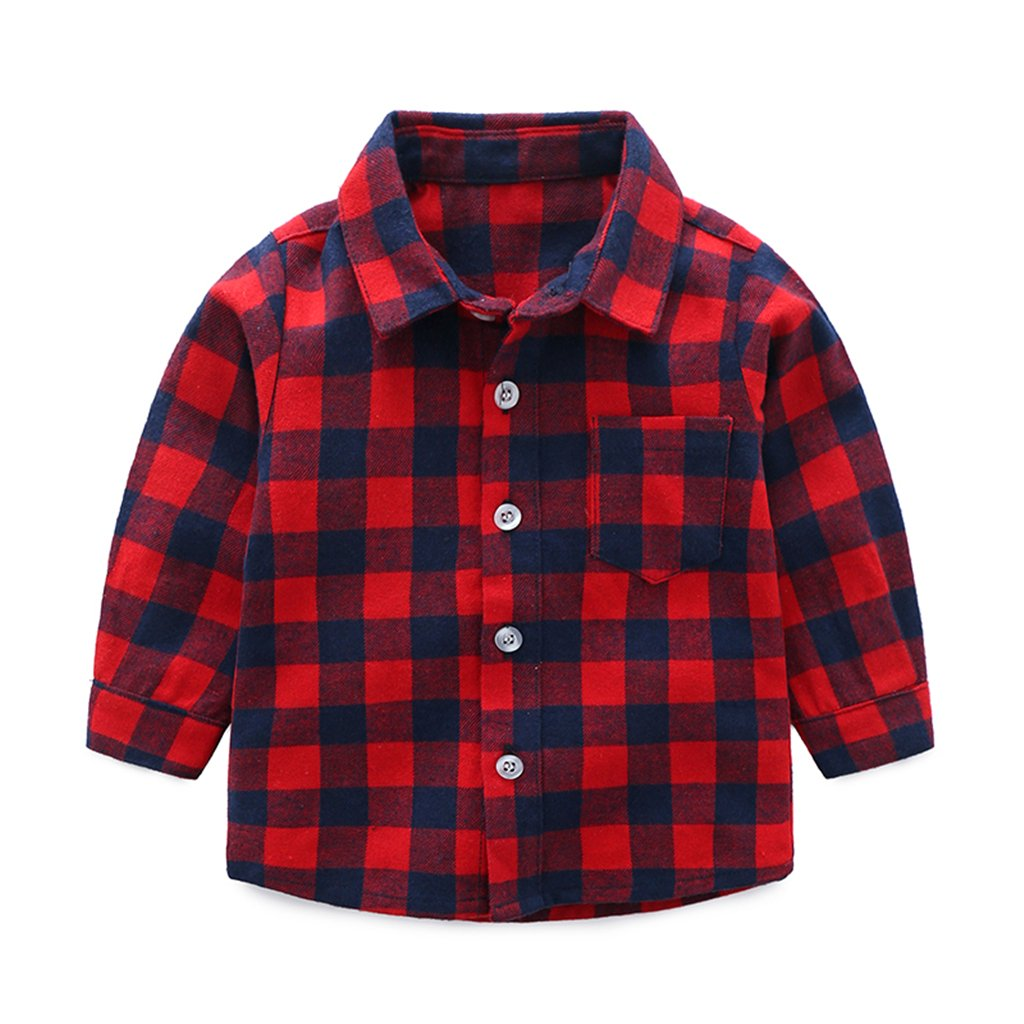 Camicia a Quadri Bambini Manica Lunga Magliette Ragazzi Ragazze Autunno Casuale Outfit in Cotone 2-3 Anni ShenzhenWindyTradingCo. Ltd