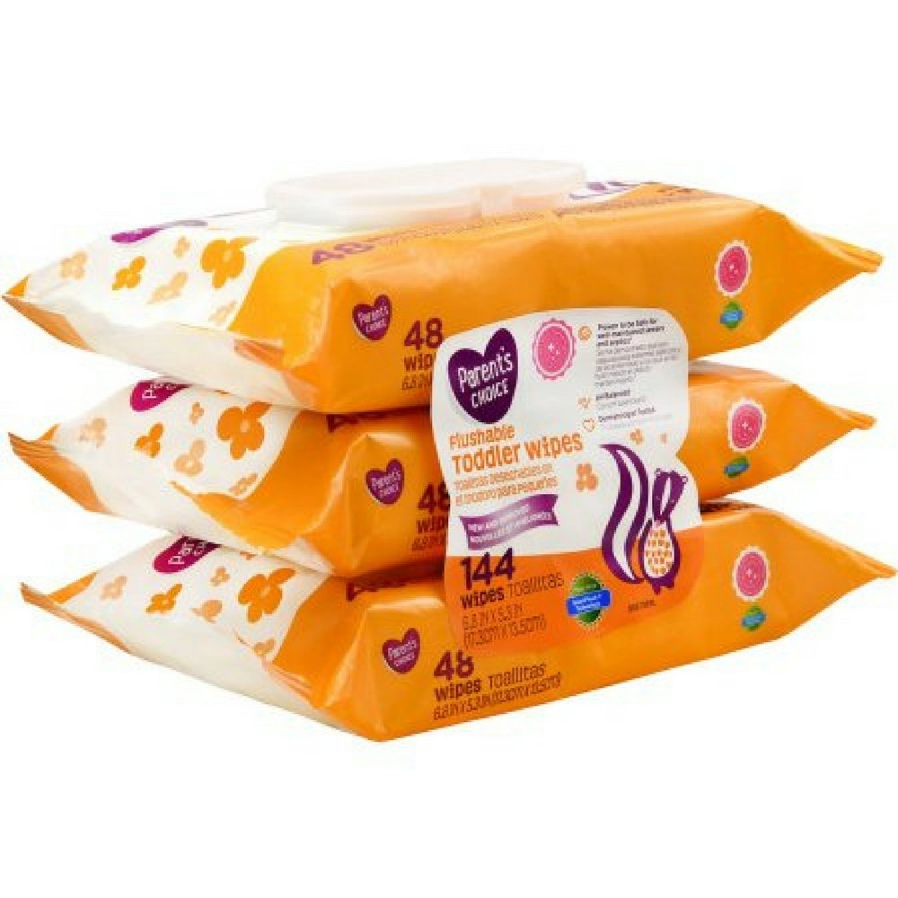 Amazon.com : Parents Choice Flushable Toddler Wipes, Ultra Soft, Gentle on Skin, (144 count- 2 Pack) : Baby