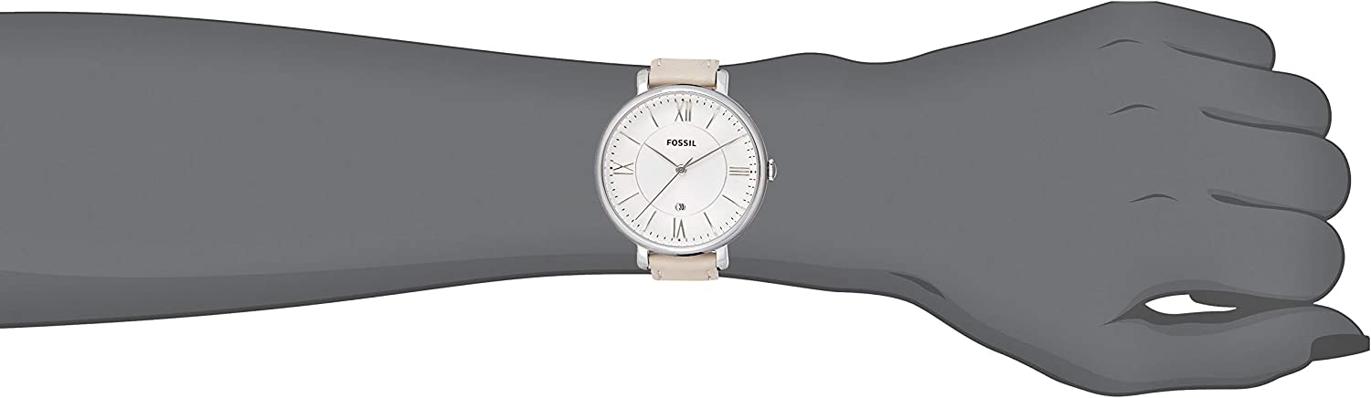 Fossil Women Jacqueline Stainless Steel and Leather Casual Quartz Watch Silver, Beige