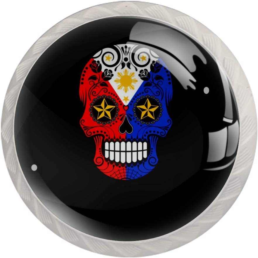 Filipino Flag Sugar Skull with Roses Drawer Knob Pull Handle Crystal Glass Circle Shape Cabinet Drawer Pulls Cupboard Knobs with Screws for Home Office Cabinet Cupboard 4 Pieces