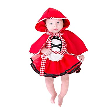 7546cea1a52 Little Red Riding Hood Costume, 2Pcs Baby Girls Maid Costume Plaid Tutu  Lace Dress Hooded Cloak Outfits