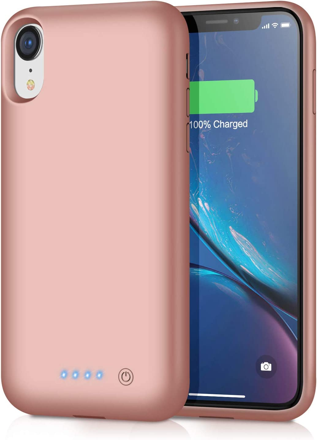 Battery Case for iPhone XR, Newest [6800mAh] Portable Charging Case Rechargeable Extended Battery Pack for iPhone XR Backup Battery Portective Charger Case(6.1 inch) - Rose Gold