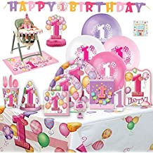 Baby's 1st Birthday Party Supplies Girl for 8 Guests