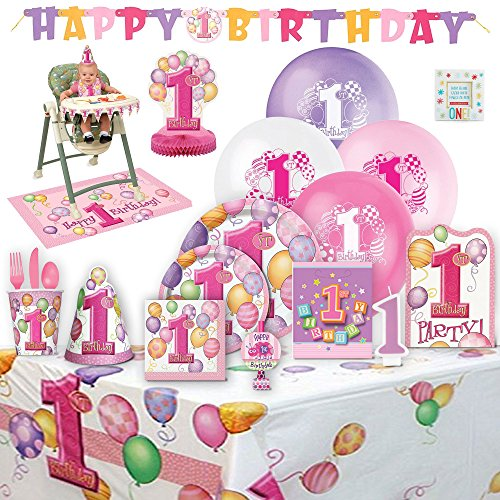 Baby's 1st Birthday Party Supplies Girl for 8 Guests -