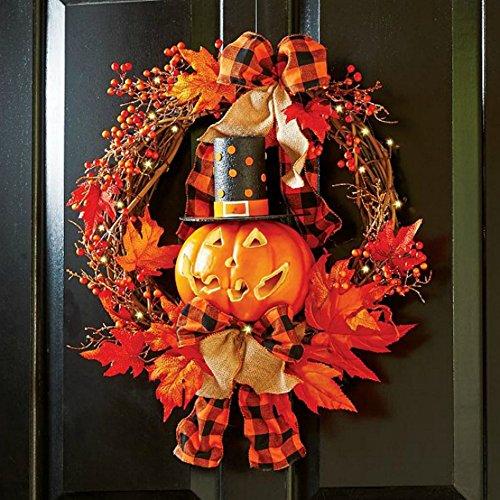 Halloween Pumpkin Grapevine Wreath Fall Leaves Door Hanger Lighted JackOLantern