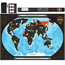 Scratch Off World Map with outlined Canadian Provinces & US States - Deluxe Large Wall Poster - Detailed Travel Tracker - Perfect Gift for Travelers - BONUS Adhesive Stickers + Scratching Tool + Wiping Cloth + Unique eBook