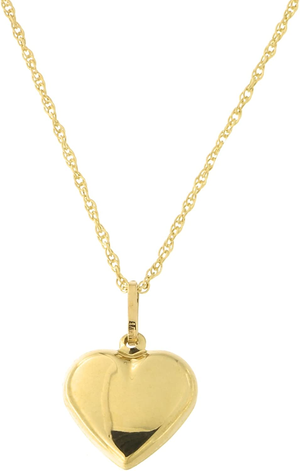 Beauniq 14k Yellow Gold Heart Pendant Necklace