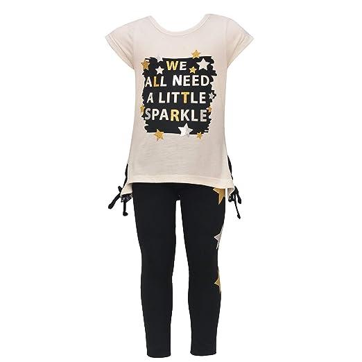 ba06e4378141 Dreamstar Little Girls Ivory Star Sparkle Detail 2 Pc Legging Outfit 4