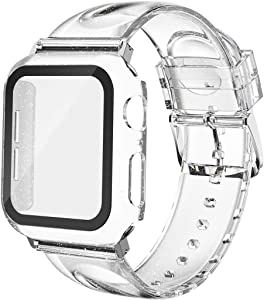 Wolait Compatible for Apple Watch Band with Glass Screen Protector 38mm 40mm 42mm 44mm, Clear Glitter Soft Band with Case for iWatch Series SE 6 5 4 3 2 1 Women,Clear/Silver, 44mm