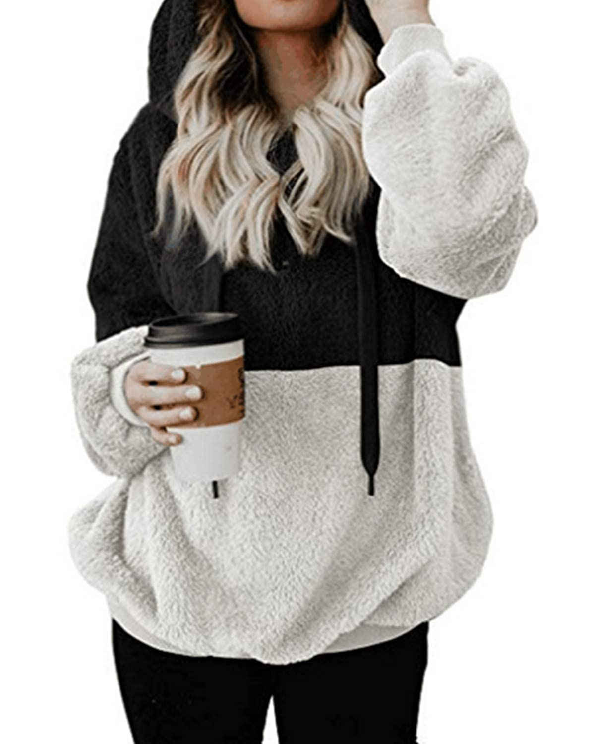 Kenoce Women Long Sleeve Fuzzy Fleece Hoodie Loose Fluffy Hooded Sweatshirt Outwear Half Zip Neck with Pockets KENOCEMUSWINA2620