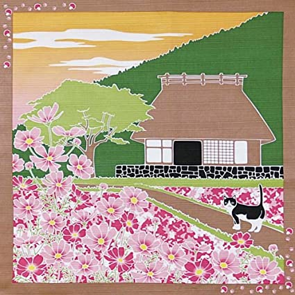 Peachy Furoshiki Small Size Japanese Wrapping Cloth Traveling Cat Japanese Old Style House Cosmos Cat September Home Interior And Landscaping Synyenasavecom